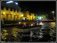 Melaka River Boat cruising the river at night