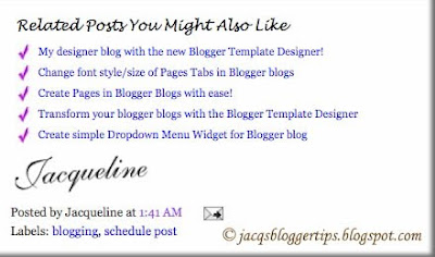Screen shot of customized Related Posts Widget