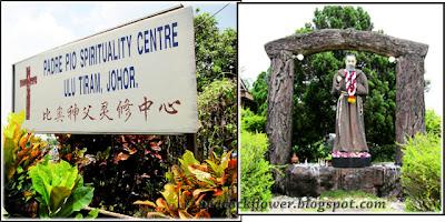 Signage of St Pio Spirituality Centre in Ulu Tiram and grotto of St Pio