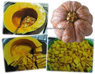 Collage of pumpkin, main ingredient for savoury steamed pumpkin cake recipe