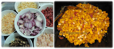 Ingredients for savoury steamed pumpkin cake with rice flour