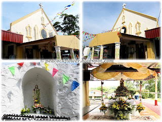 Exterior view of Church of St Theresa, its grotto and an extended tent on its right, specially for the feastday celebration