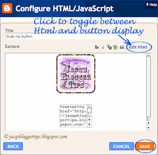 Screenshot displaying my blog button and code text box in the Configure HTML/JavaScript gadget