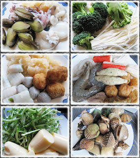 Seafood, meat, etc. for steamboat buffet