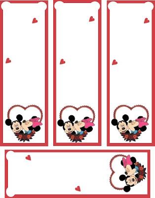 marcador libros con mickie y minnie mouse corazón, San Valentín