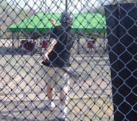 Drew at the batting cage
