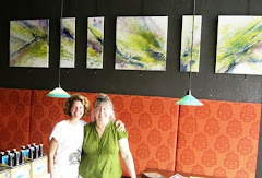Jill and I in front of the 6 panel abstract.