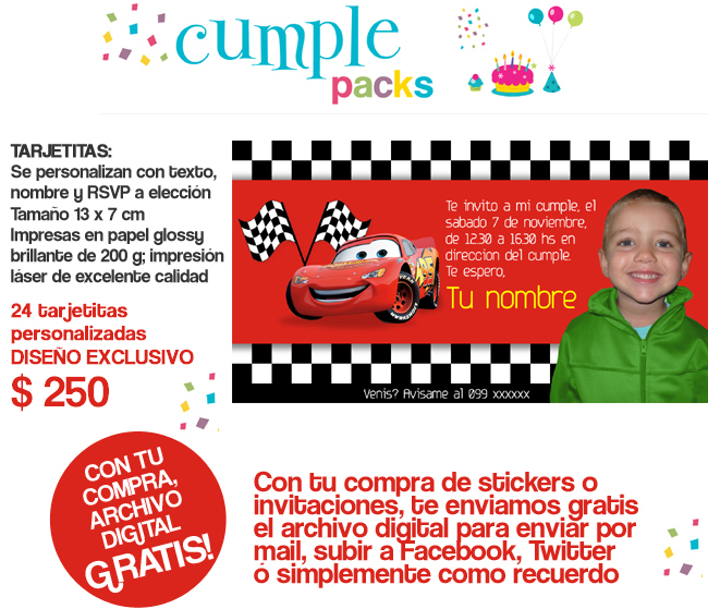 Cumple Packs: CARS. Tarjetitas y stickers personalizados con tu ...