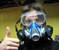 photograph of Midloo wearing respirator