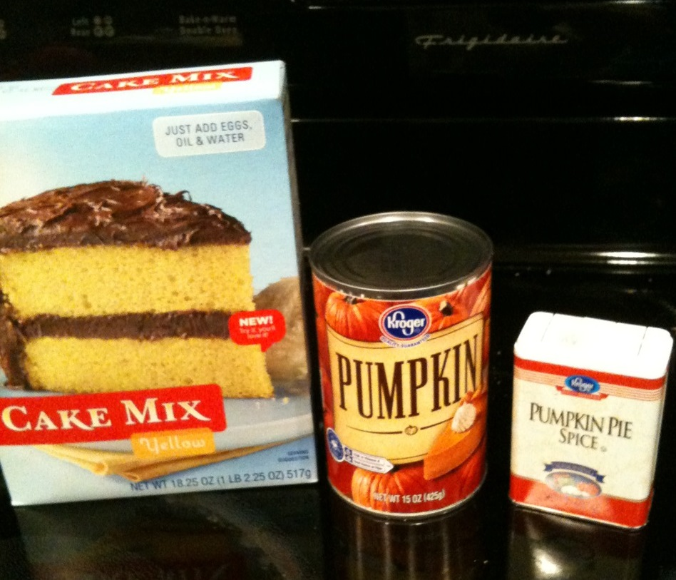 Can Of Pumpkin And Spice Cake Mix Muffins