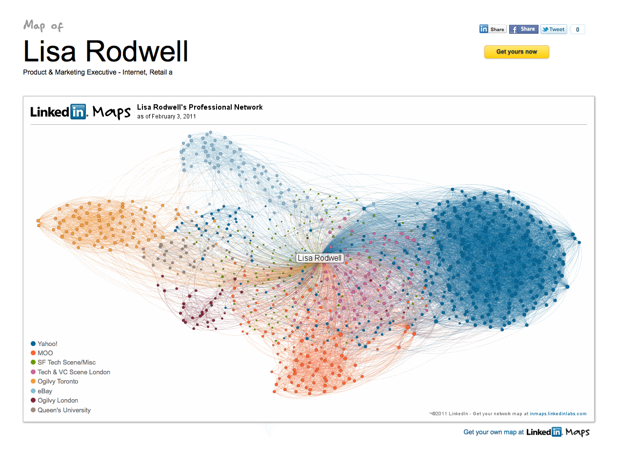 rodwellian my beautiful network of professional contacts last year dopplr sent to its users a beautiful map which outlined their business travel for the previous year here is an example of the map they did for