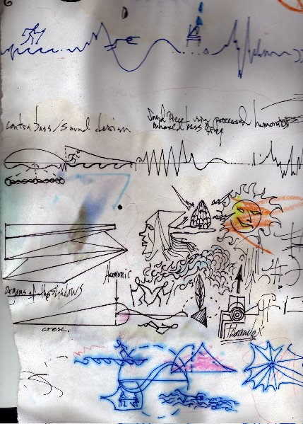 "Rough sketch of the score for ""ROOMS"" (2002)"