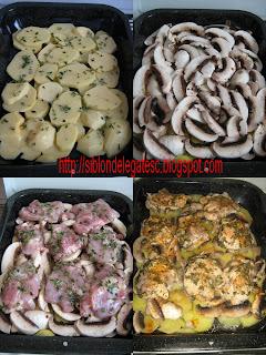 pui cu cartofi ciuperci si rozmarin