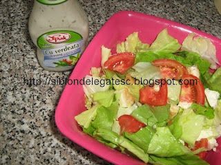 salata cu snitel de pui si dressing