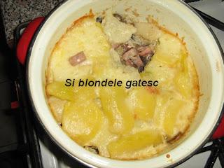 cartofi gratinati cu ciuperci