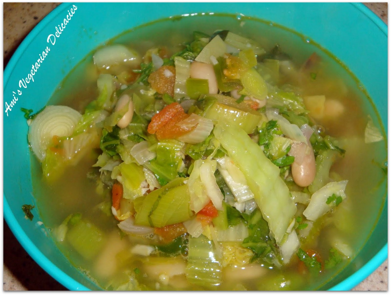 ... soup from Tuscany. This one uses cannellini beans, leeks, cabbage and