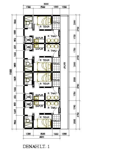 Desain rumah petak 6x15 m2