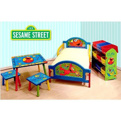 elmo theme room in a box bed toybox table sesame street toys elmo