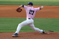 Alex Cobb on the mound in special edition pink uniforms for the 2009 Pink in the Park event.