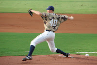 Shane Dyer pitched 6 shut-out innings with 9 strikeouts enroute to the win.  Photo by Jim Donten.
