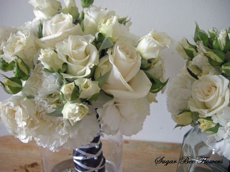 white bouquet with black ribbon rose David Austin roses and carnation