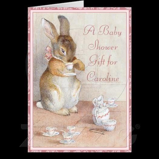imagina on zazzle  beatrix potter custom baby shower gift card