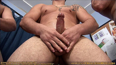 straight guy holds his hard cock
