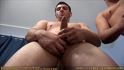 guy holds his hard uncut cock