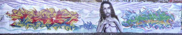 graffiti de izak ft linos en quinta normal, santiago