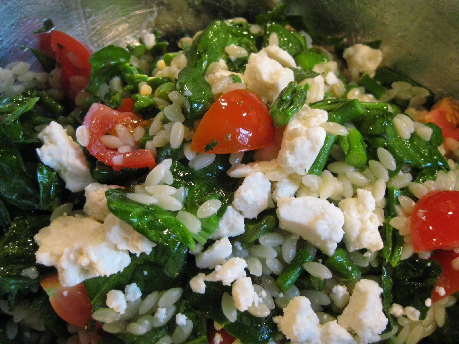 Lemon Orzo Salad With Asparagus, Spinach, And Feta Recipes ...