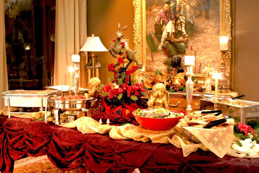 Holiday Buffet Table Decorating Photograph Mindful Eating