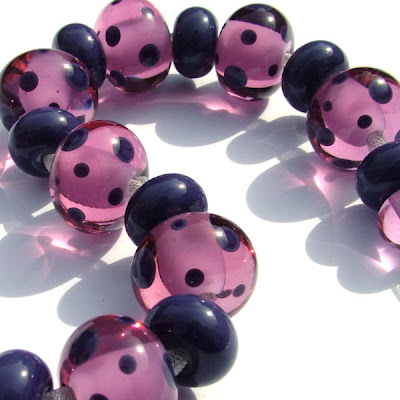 Spotty Lampwork Glass Beads