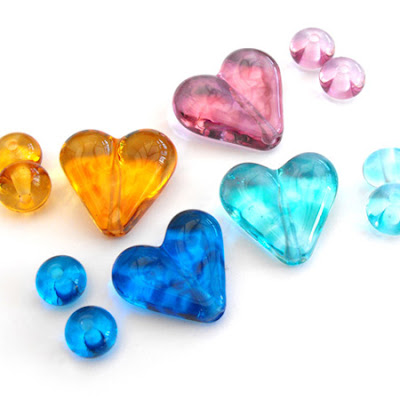 Lampwork Glass Heart Beads