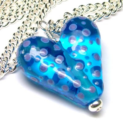 Lampwork Glass Heart Bead Necklace