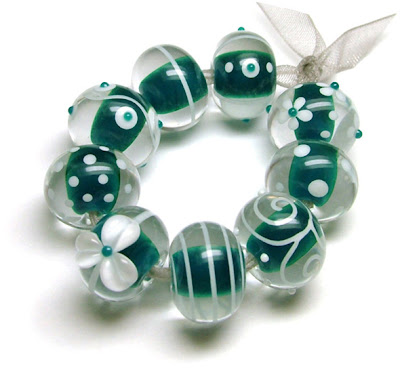 Teal Lampwork Glass Beads