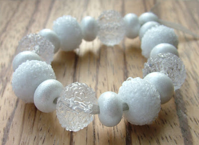Clear and white lampwork glass beads