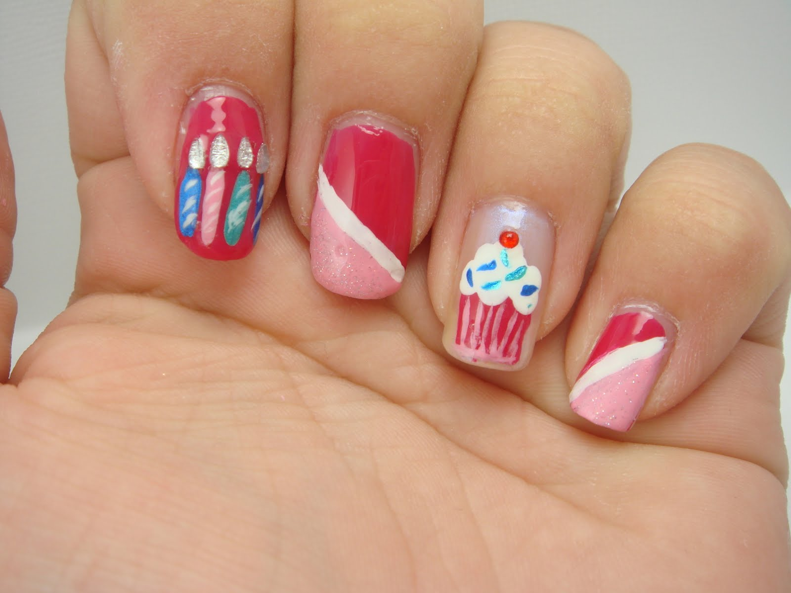 Pink hello kitty nail designs