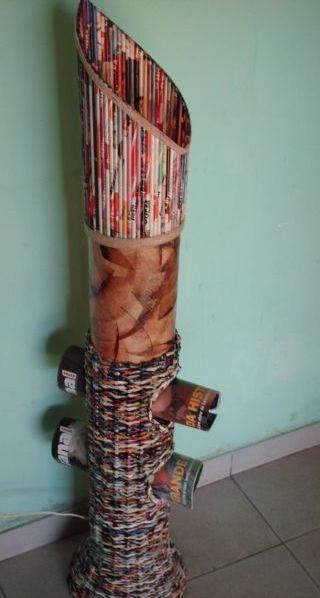 Aparador Ferro E Vidro ~ Lili Artesanato Vasos artesanais utilizando jornais e revistas