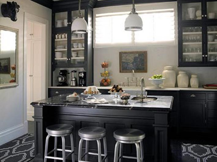 Beaches bath black kitchens for Black and white painted kitchen cabinets
