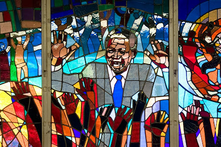 Stained glass window depicting Nelson Mandela in Regina Mundi Catholic Church, Soweto, Johannesburg, South Africa © Matt Prater
