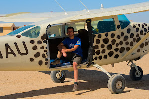 Sitting in the skydiving plane, Swakopmund, Namibia