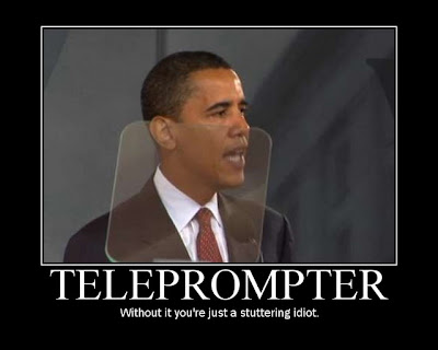 obama with his teleprompters