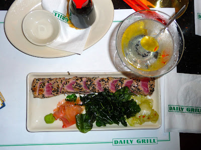 photo of my meal of seared ahi tuna and a martini