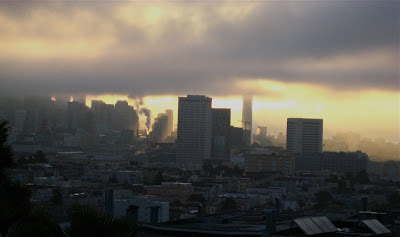 Photo of morning skyline of San Francisco with low glowering clouds