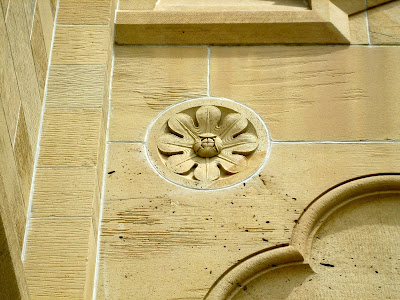 photo of a sanstaone architectural detail at the university at which the author works