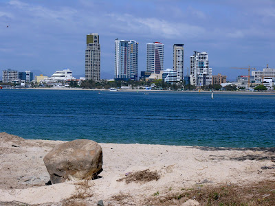 photo of the skyline of the Gold Coast from a beach across a body of water