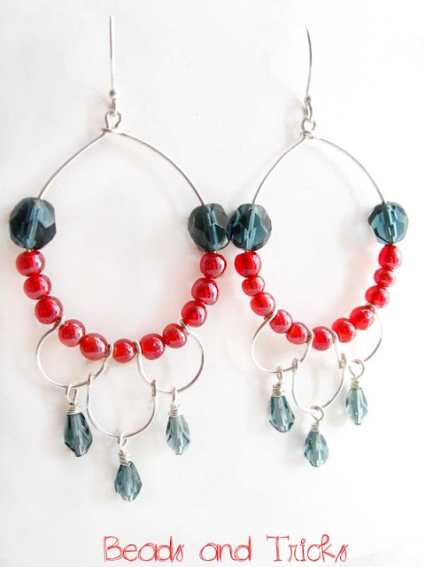orecchini chandelier argento rosso