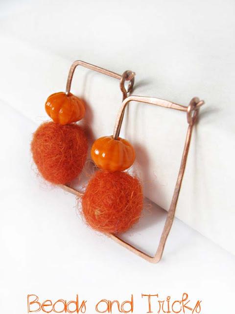 orecchini feltro arancio