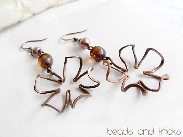 orecchini fiore rame