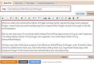 Cara Membuat Artikel - Membuat Tulisan Di Blogger 2
